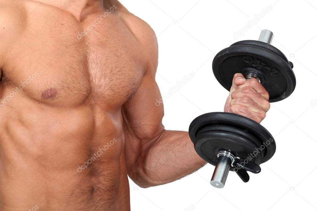 Man lifting dumbbells  Stock Photo #14740157