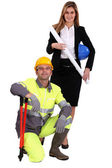 Professional woman standing next to a blue collar worker — Stock Photo