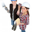 Two female bricklayers — Stock Photo #14902201