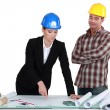 Stock Photo: Architect and builder discussing plans