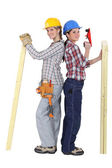 Two female carpenters — Stock Photo