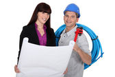 Tradesman and architect — Stock Photo