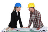 Two architects flirting — Stock Photo