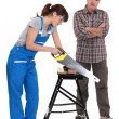 Carpenter and his trainee. — Stock Photo #14915561