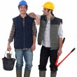 Stock Photo: Two friendly handymen