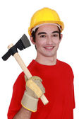 Worker with ax — Stock Photo