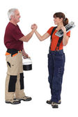 Father and daughter renovating house — Stock Photo