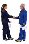 Decorators shaking hands — Stock Photo