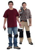 Plasterer and tile fitter — Stock Photo