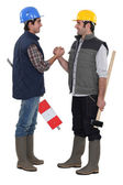 Tradesmen forming a pact — Stock Photo