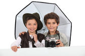 Kids dressed as photographers — Stock Photo