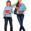Brother and sister ready for school — Stock Photo