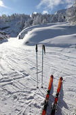 Skis and poles in the snow — Stock Photo