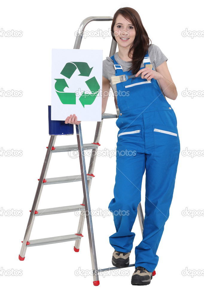 Decorator holding a recycle symbol — Stock Photo #14935067