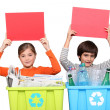 Red card for recycling - Stock Photo