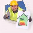 Man with energy rating — Stock Photo