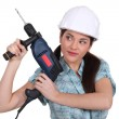 Woman with a power drill — Stock Photo #14945067