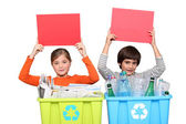 Red card for recycling — Stock Photo