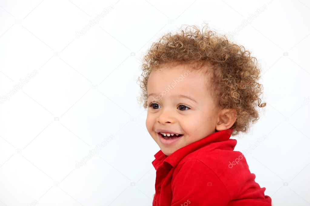 Portrait of baby with curly hair — Stock Photo #14941953