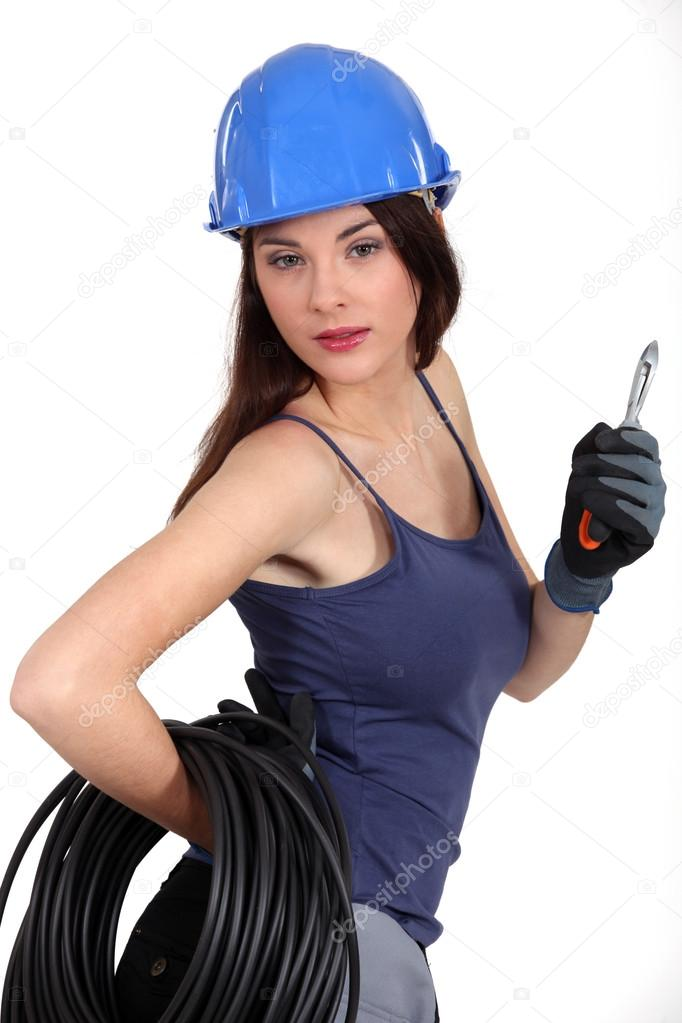Seductive brunette electrician — Stockfoto #14945113