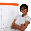 Businesswoman in front of a flipchart — Stock Photo