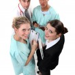 Hospital staff huddling — Stock Photo