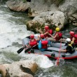Thrill seekers rafting down rapids — Stock Photo