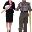 Female architect and male carpenter all smiles shaking hands — Stock Photo