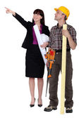 Laborer and architect — Stock Photo