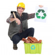Stock Photo: Builder recycling bricks