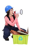 Woman spreading the message about recycling — Stock Photo