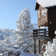 Snow covered chalet - Stock Photo