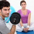 Stock Photo: Couple working out.