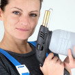 Stock Photo: Womwith blowtorch