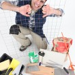 Tiler with equipment — Stock Photo