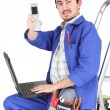 Plumber with tools — Stockfoto