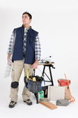 Plasterer ready for days work — Stock Photo