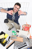 Tiler with equipment — Stock Photo