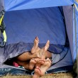 Lovers in a tent - Stock Photo
