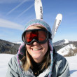 Girl having fun at ski resort — Stockfoto