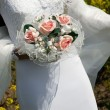 Bride holding bouquet — Stock Photo