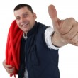 Successful plumber with thumb up — Stock Photo #15748513