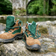 Stock Photo: Walking boots by river