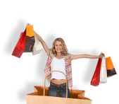 Shopping addict in a shopping bag — Stock Photo