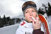 Gros plan de snowboarder femelle — Photo