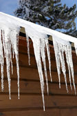Stalactite hanging from chalet — Stock Photo