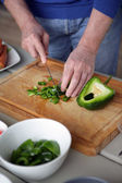 Chopping pepper — Stock Photo