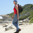 Woman hiking along the coast — Stock Photo #15750029