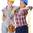 Two young women laborers in workwear — Stock Photo