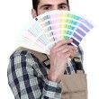 Decorator with a color chart - Stok fotoraf